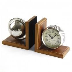 Reggilibro coppia con orologio e mappamondo by Royal Family Sheffield