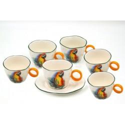 Servizio 6 Tazze colazione Pappagalli Rossi by Royal Family Sheffield