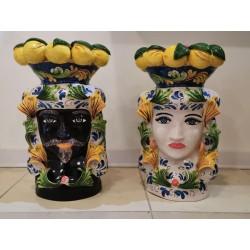 Coppia Teste con corona Limoni by Ceramica D'arte di Caltagirone