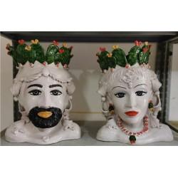 Coppia Busti con corona Paleficodindia by Ceramica D'arte di Caltagirone