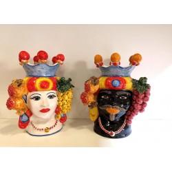Coppia Teste con frutta by Ceramica D'arte di Caltagirone