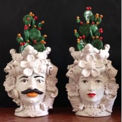 Coppia Teste con pianre e Paleficodindia by Ceramica D'arte di Caltagirone