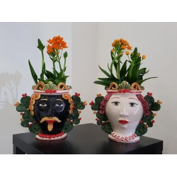 Coppia vasi Teste con Paleficodindia by Ceramica D'arte di Caltagirone