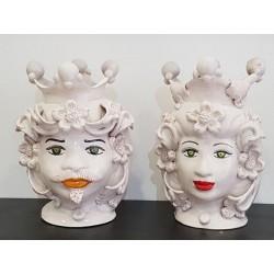 Coppia Teste bianche by Ceramica D'arte di Caltagirone