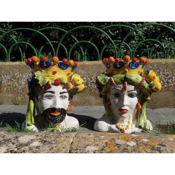 Coppia Teste a busto Limoni by Ceramica D'arte di Caltagirone