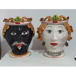 Coppia Teste by Ceramica D'arte di Caltagirone